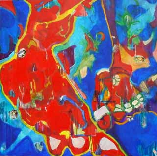 "THE LOTUS FEET_EAST MEETS WEST, 61"" x 61"" (155 x 155 cm), Mixed Media/Canvas, 2004"